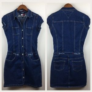 Vintage TOMMY HILFIGER Denim Button Up Mini Dress
